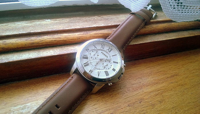 1 Đồng Hồ Fossil Men's Chronograph Grant Brown Leather Strap Watch 44mm FS4735